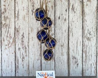 "5 - 2"" Cobalt Blue Glass Fishing Floats On Rope - Nautical Fish Net Buoy Ball - Beach Decor - w/ Rope Netting"