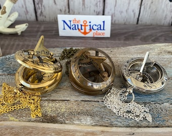 """Brass Sundial Compass w/ Optional 27"""" Chain & Velour Bag - Gold, Silver, Antique Finish - Old Vintage Pocket Style Nautical Necklace"""