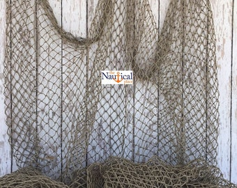 Authentic Fish Netting - 10 ft x 10 ft Knotted - Vintage Old Used Fishing Net - Recycled, Repurposed, Reclaimed Fishnet -Nautical Maritime