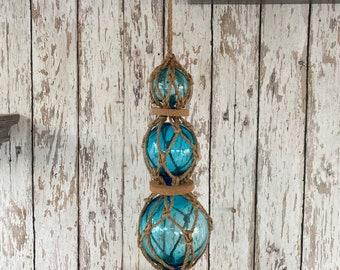 3 Aqua Glass Fishing Floats On Rope - Light Blue, Turquoise Buoy Balls w/ Rope Netting & Cork - Nautical Decor - Coastal Beach Decorations