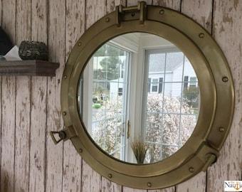 """20"""" Antique Brass Finish Porthole Mirror - Nautical Wall Decor - Large Working Port Hole Window"""