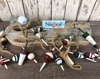 9 ft Wood Fishing Bobber Floats On String - Buoy Fish Net Garland - Wooden Nautical Decor - Christmas Tree Ornament