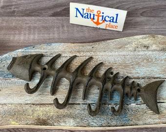 Cast Iron Fish Bones Wall Hook - Towel Hanger - Coat, Hat, Key Rack - Nautical Decor - Bathroom Wall Hanger - Fishbones
