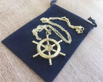 """Silver Finish Brass Ship Wheel w/ Optional 27"""" Chain & Velour Bag - Vintage Antique Style - Miniature Nautical Necklace - Christmas Gift"""