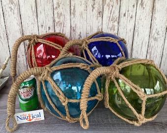 "Large 8"" Glass Fishing Floats - Volleyball Size - Nautical Coastal Beach - Fish Net Buoy Decor - Red, Blue, Green, Aqua Ball w/ Rope Netting"