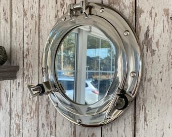 "11"" Chrome / Silver Finish Porthole Mirror - Nautical Maritime Wall Decor - Window"