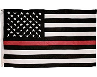 3' x 5' Thin Red Line American Flag - Fire Fighter Firefighter - Fireman Stripe 3x5