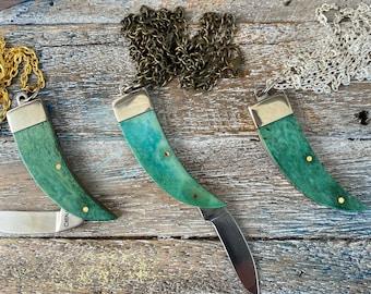 Miniature Bear Claw Knife Necklace w/ Bone Handle - Pocket Knife Keychain - Small Working Mini Folding Knives - Greenish Blue Pendant