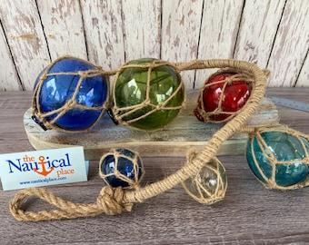 6 Glass Fishing Floats On Rope - Fish Net Buoy Ball - Nautical Beach Decor - Red, Blue, Green, Aqua, Clear w/ Jute Rope Netting