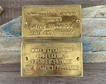 Nautical Signs - Solid Brass - Captain Suggested, Cocktail Hour - Nautical Decor - Wall Plaque - Boat Cabin Door