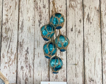 "5 - 2"" Aqua Glass Fishing Floats On Rope - Nautical Fish Net Buoy - Light Blue Ball, Teal, Turquoise w/ Rope Netting - Beach Decor"