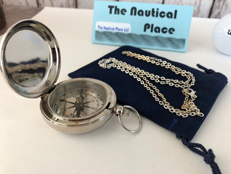 Lot Of 50 Pcs Maritime Vintage Silver Finish Locket Style Brass Pocket Compass Maritime