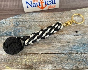 Rope Bell Pull w/ Monkey Fist Knot Ball - Braided Knot Lanyard - Hand Tied  Sailor Bellpull - Black & White Keychain
