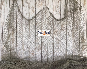 Old Fishing Net - 10 ft x 10 ft - KNOTLESS - Vintage Used Fish Netting - Repurposed, Original - Nautical Wall Decor