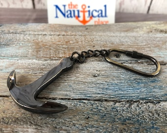 Antique Finish Brass Anchor Keychain - Necklace Pendant - Nautical Jewelry - Wedding Favor, Christmas Gift