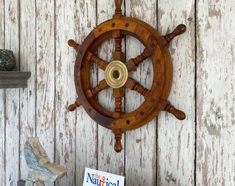 """12"""" Wood Ship Wheel With Brass Center - Wooden Ship's Wheel - Nautical Wall Decor - Captains Steering Helm"""