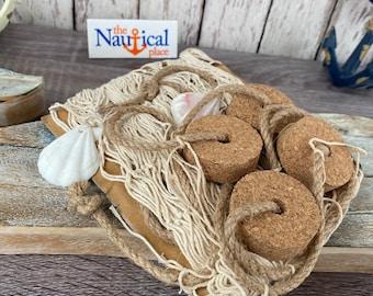 3x5 Decorative Fishing Net w/ Shells & Cork Floats - Off White Fish Netting - Nautical Decor - Luau Party Backdrop - Photo Wall Prop