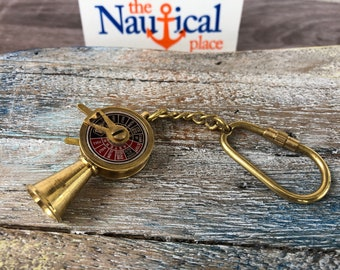 Brass Telegraph Keychain - Old Vintage Antique Style - Miniature Nautical Necklace Pendant Charm - Wedding Gift For Him