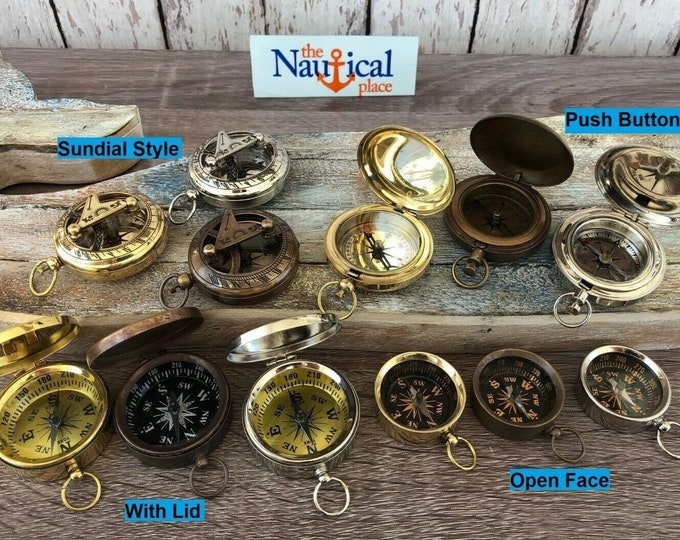 Featured listing image: Brass Compass - With Lid, Push Button, Pocket Sundial - Antique, Silver, Gold - Old Vintage Style - Miniature Necklace - Nautical Jewelry