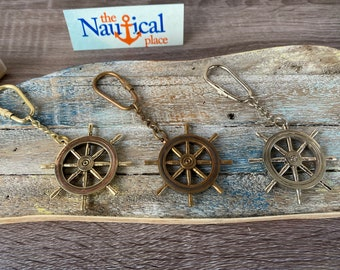 Brass Ship Wheel Keychain - Gold, Antique, Silver Finish - Necklace Pendant Charm - Vintage Nautical Style Jewelry - Captain, Pirate
