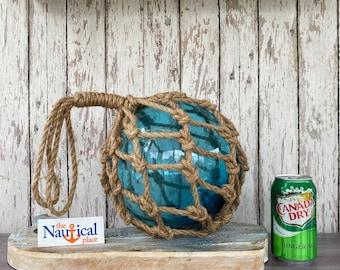 "Large 8"" Aqua Glass Fishing Float w/ Weathered Rope Netting - Light Blue Ball - Volleyball Size - Nautical Beach Fish Net Buoy Decor"