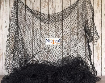 Old Used Fishing Net - 10 ft x 10 ft BLACK Knotted - Nautical Wall Decor - Vintage Fish Netting - Great For Crafts, Golf, Slow Feed