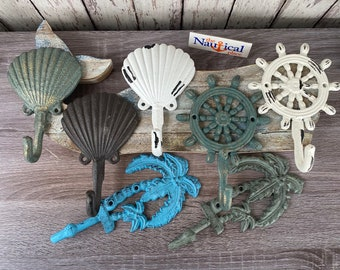 Nautical Cast Iron Wall Hooks - Palm Tree, Seashell, Ship Wheel - Towel Hanger, Coat, Hat, Key Rack - Nautical Decor - Beach Bathroom Accent