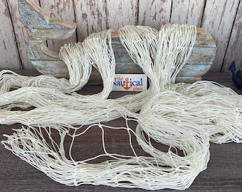 """White Nylon Fish Netting - 5 ft Wide & Sold By The Foot - 2"""" Holes - Soccer, Batting, Slow Feed - Decorative Fishing Net - Nautical Decor"""