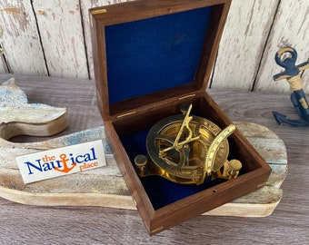 """Large 3.75"""" Brass Sundial Desk Compass w/ Wooden Box - Old Vintage Antique Style - Nautical Maritime - Christmas Gift"""