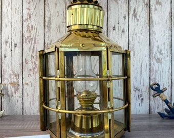 "15"" Vintage Brass Clipper Ship Lantern - Polished Finish - Nautical Oil Lamps - Boat Light - Nautical Maritime Decor"