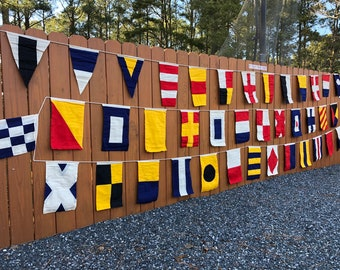 Nautical Signal Code Flags - Set of 40 - High Quality, Hand Sewn, Double Sided Cotton On String - International Maritime Marine Boating
