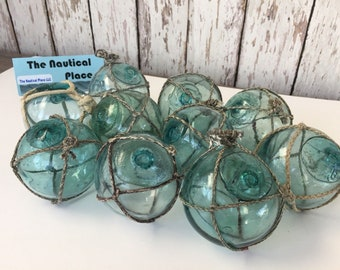 """2.5"""" Japanese Glass Fishing Floats - Lot of 10 - Authentic Vintage Japan Ball - Old Fish Net Buoy - Aqua, Green & Blue Shades - Netted"""