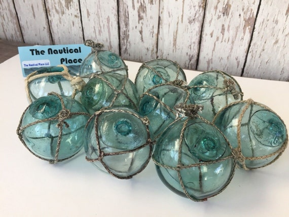 """Vintage Japanese Glass Fishing Floats Lot of 5 FREE SHIPPING 2/"""" Netted"""