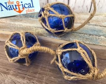 "2"" Cobalt Blue Glass Fishing Floats- Nautical Coastal Beach Decor - Fish Net Buoy Ball w/ Rope Netting - Christmas Ornaments -Single, 3 or 6"