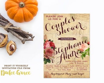 rehearsal dinner invitations, vintage couples shower invitation, printable couples shower invite, vintage floral old paper, digital download