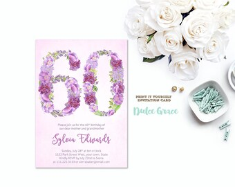 Milestone Birthday Invites 60th Invitations Female Lavender PRINTABLE