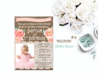 Baptism Birthday Invitations, Joint Birthday Baptism Invites, Peach Baptism  Invitation, Photo Birthday Invitations, Christening Invitations