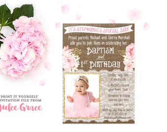 Pink And Gold Christening Invitations, Pink White Gold Baptism Invitation, Baptism  Birthday Invites, Christening Birthday Invite, PRINTABLE