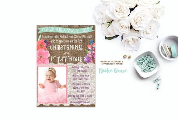 1st birthday and baptism invitation diy printable baptism etsy like this item stopboris Images