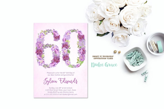 Milestone Birthday Invites 60th Invitations Female