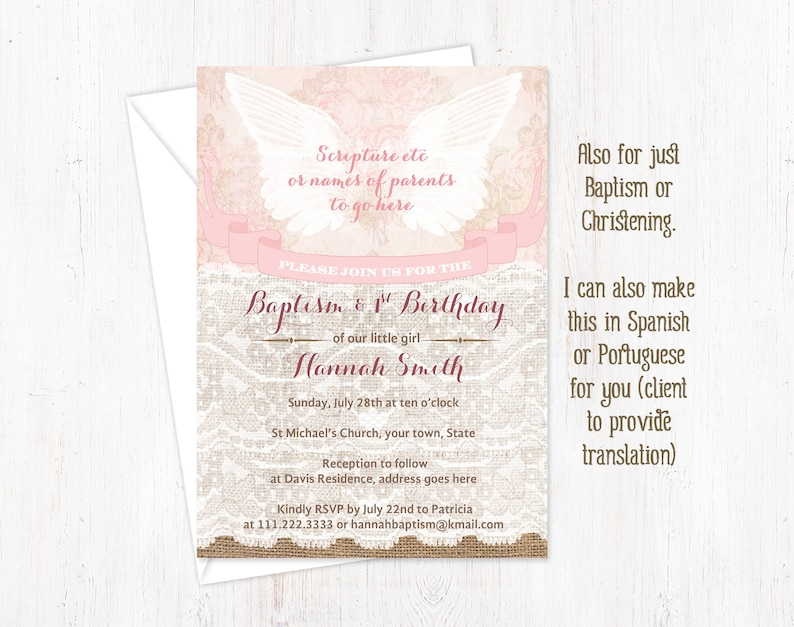 Baptism And 1st Birthday Invitations Girl Angel