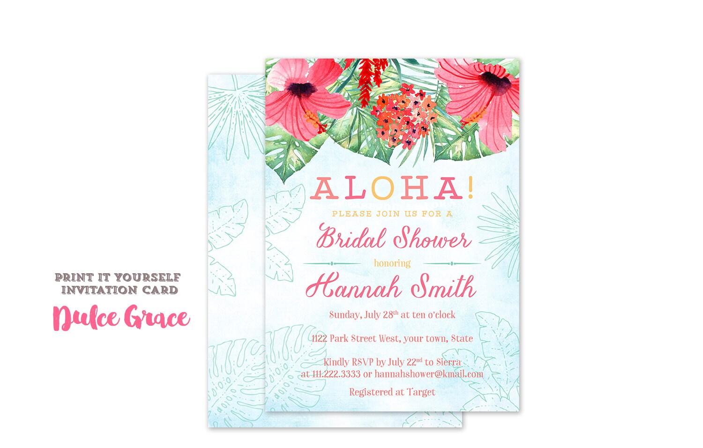Luau bridal shower invitations Aloha wedding shower invites | Etsy