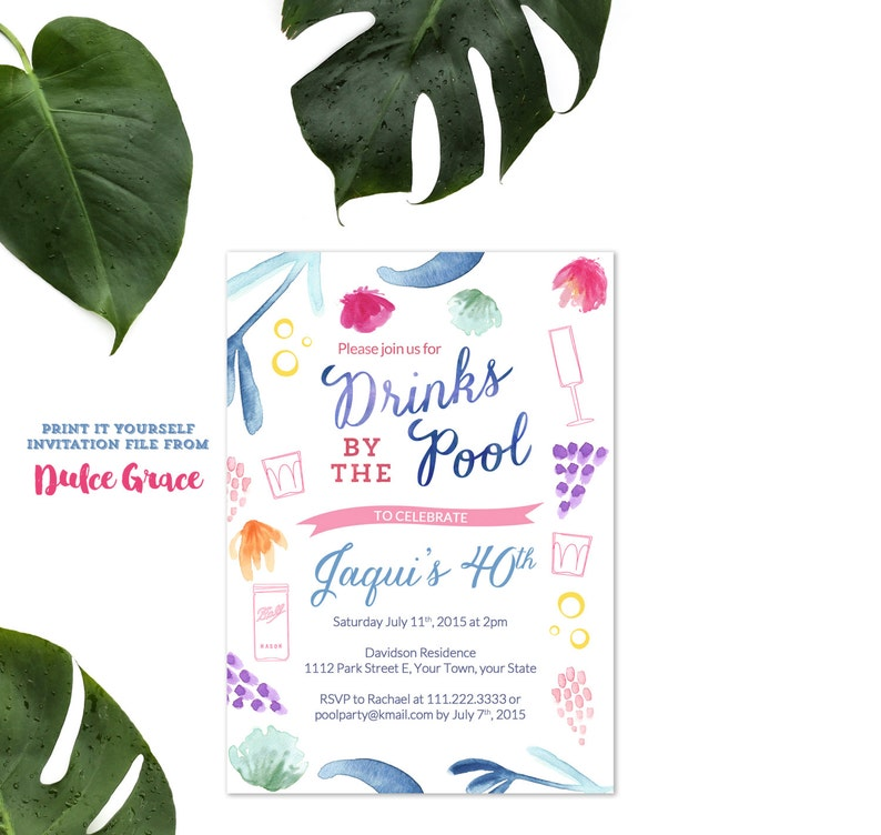 Adult Pool Party Birthday Invitation Beach