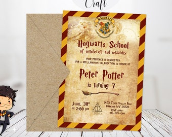 Harry Potter Invitation, Personalized Harry Potter Invitation, Harry Potter party hogwarts invitation gryffindor