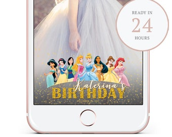 Disney princess Birthday Snapchat Filter. Princess Snapchat GeoFilter. Custom Snapchat Filter. Snapchat GeoFilter. Personalized Filter