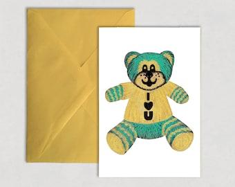 I Love You – Greeting card, teddy bear, crush, love, valentines,