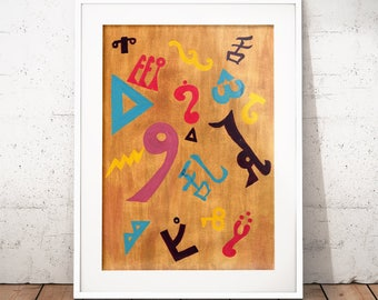 Babel Collection: Fallen Confusion – original acrylic painting, gold, languages, abstract painting, abstract art, hieroglyphics, symbols