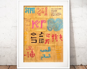 Babel Collection: Building Blocks – original acrylic painting, gold, languages, abstract painting, wall art, gold painting, hieroglyphics