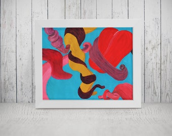 Giclée Print | Babel Collection: Tongue-tied – Giclée Print (of original acrylic painting), blue red abstract, wall art, painting, tongues