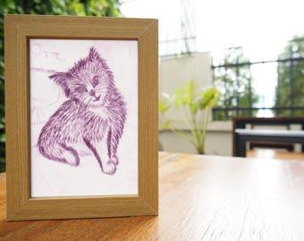 Cute Cat – Original, A5, Drypoint Etching, Purple